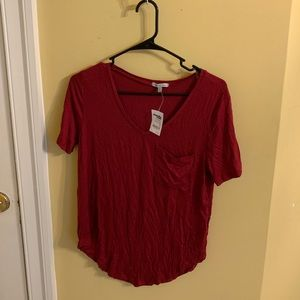 RED V- NECK SOFT TEE